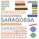 Saragossa (Zaragoza) text design set — Stock Vector