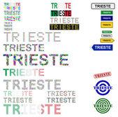 Trieste text design set — Stock Vector