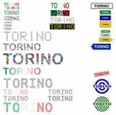 Torino (Turin) text design set — Stock Vector