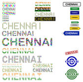 Chennai (Madras) text design set — Stock Vector
