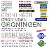Groningen text design set — Stock Vector