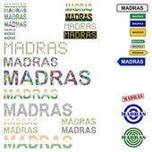 Madras (Chennai) text design set — Stock Vector
