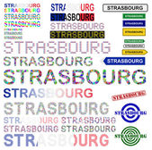 Strasbourg text design set — Stock Vector