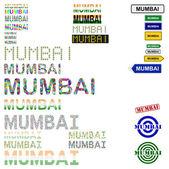 Mumbai (Bombay) text design set — Stock Vector