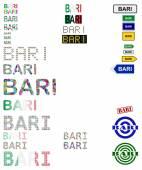 Sada návrhů textu Bari — Stock vektor