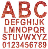 Red mosaic font set — Vector de stock