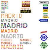 Madrid text design set — Stock Vector