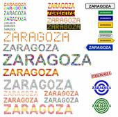 Zaragoza (Saragossa) text design set — Vector de stock