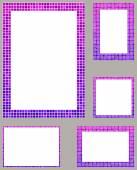 Magenta pixel mosaic page border frame set — Stock Vector