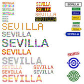 Sevilla (Seville) text design set — Vettoriale Stock