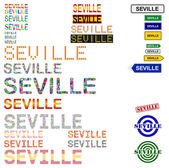 Seville (Sevilla) text design set — Stock Vector