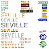 Seville (Sevilla) text design set — Vettoriale Stock
