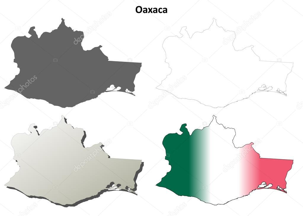 瓦哈卡州空白矢量轮廓地图集