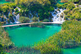 Wooden tourist path in Plitvice lakes national park — Stock Photo