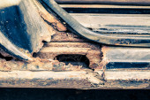 Rusty threshold of car — Stockfoto