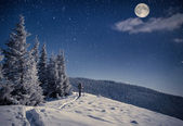 Travel in winter mountains — Stock Photo