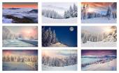 Collage with 9 different Christmas landscapes. — Stock Photo