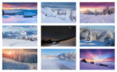 Collage with 9 different Christmas landscapes. — Foto de Stock
