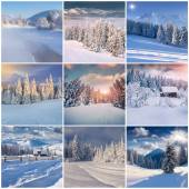 Winter collage with 9 square Christmas landscapes.  — Stock Photo
