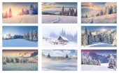 9 different Christmas landscapes. — Stock Photo