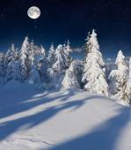 Winter landscape in the mountains with full moon. — Stock Photo