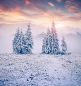 Beautiful winter sunrise in the mountains — Stock Photo