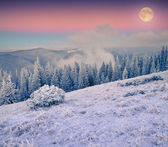 Rising moon over frosty winter mountains — Foto Stock