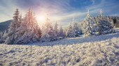 Winter morning in the mountains. — Stock Photo