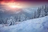 Beautiful winter sunrise in mountains. — Stock Photo