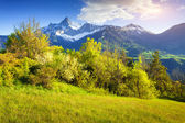 Colorful spring morning on the Le Drac valley — Stock Photo