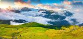 Val di Fassa valley with passo Sella — Stock Photo