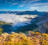 Great view of the foggy valley.  — Stock Photo