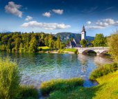 Church of St John the Baptist, Bohinj Lake — Stock Photo