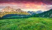 Colorful sunrise on the Cristallo group range  — Stock Photo