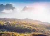 Birkenkofel mountain range in the morning mist — Stock Photo