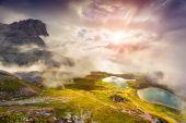 Sunrise on the Lakes Del Piani — Stock Photo
