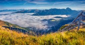 Panorama of the foggy valley — Stock Photo