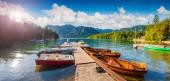 Sunny morning on the Bohinj Lake — Stock Photo