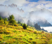 Morning in the italian dolomites alps. — Stock Photo