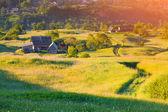 Sunrise in the mountain village — Stock Photo
