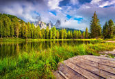 Foggy summer morning on the lake Antorno — Stock Photo