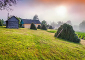 Haymaking in a Carpathian village. — Stock Photo