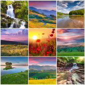 9 square summer landscapes — Fotografia Stock
