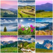 9 square summer landscapes — Stock Photo