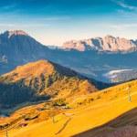 Summer sunny panorama of the Sassolungo group. — Stock Photo #69226069