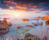 Sunrise on the soyth coast of Sicily — Stock Photo