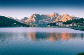 Colorful summer morning on the Lake Misurina — Stock Photo