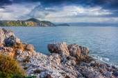 Dramatic spring sunset on the cape Milazzo — Stock Photo