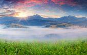 Sunrise in a mountain village — Stock Photo
