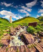 Sunny summer morning in village Adishi — Stock Photo
